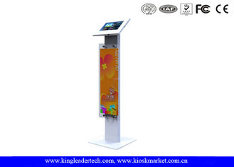 Public Display Stands Anti Theft Ipad Kiosk Stand with Logo Panel , Rugged Metal